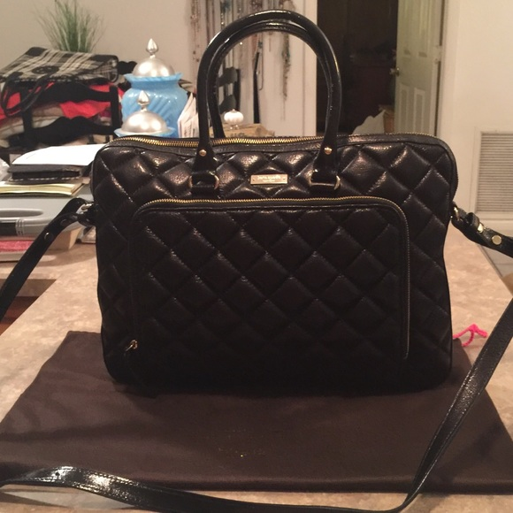 promo code 7103c 0770f Kate Spade Black Quilted Leather Laptop Bag Tote